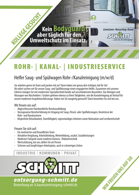 Karriere als Helfer für Saug- und Spülwagen bei Rohr-und Kanalreinigung Schmitt