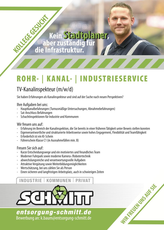 TV-Kanalinspekteur für Schmitt Rohrreinigung gesucht