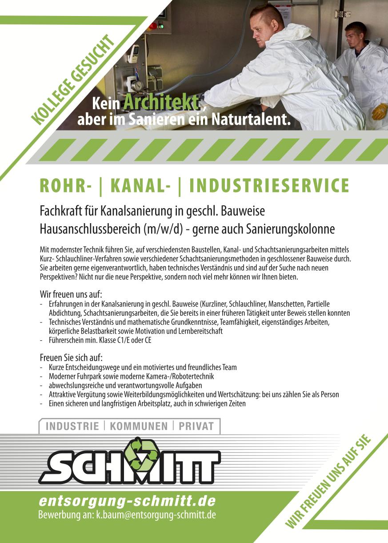 Fachkraft für Kanalsanierung gesucht bei Schmitt Rohrreinigung